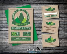 Printable Wedding Invitation Paper Cut Mountain - Nature Wedding - Outdoor Mountain Wedding - Custom Colors