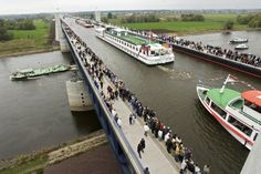 Magdeburg Water Bridge - Magdeburg, Germany.  Yes, that's a river on top of another river. This giant water bridge took six years to make and is the world's longest navigable aqueduct.    | 11 Places That Defy All Logic