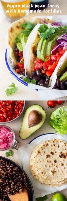 #vegan #blackbean #tacos with #homemade #tortillas make a delicious #lunch or…
