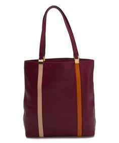 Tod's Purple Contrast-Stripe Medium Upright Calfskin Leather Tote