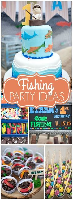 This First Birthday Party Is Colorful, With A Rustic Feel Throughout Fishing Birthday Party Decorations - Best Home & Party Decoration Ideas Boys First Birthday Party Ideas, Birthday Themes For Boys, Baby Boy First Birthday, Boy Birthday Parties, Happy Birthday, Birthday Boys, Birthday Crafts, Birthday Nails, Baby Shower