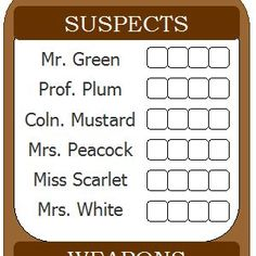 Printable clue score sheets in Microsoft Word, Works, PDF free for download. I've updated the look of my printable clue game score sheets and also created a new document format! Download the …