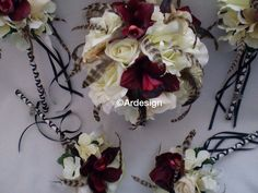 TRUE ROMANCE  Wedding Bouquet With Chinchilla Feathers by Ardesign, $115.00