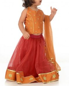 #Exclusivelyin, #IndianEthnicWear, #IndianWear, #Fashion, Vermilion Red Lengha Set with Floral Motif