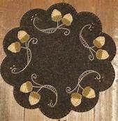 Wool applique acorn mat