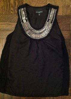Cynthia Rowley - Metal Boho Beads, Long Black Top Size P $59.99  eBay