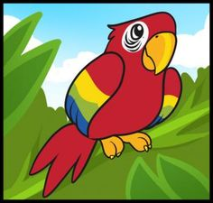 Animals - How to Draw a Parrot for Kids