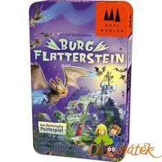 Ki éri el leghamarabb Flatterstein várának tetejét, és szerzi meg a denevér-trófeát? Az lesz a leggyorsabb, aki legügyesebben repteti denevérjeit a vár ablakaiba - hacsak a falak között lakó szellemek meg nem tréfálják!   A Burg Flatterstein egy ügyességi játék, amely a célzás és a kézügyesség játssza a fő szerepet. Flatterstein várát a gyerekek most már akár utazásra is magukkal vihetnek, a praktikus és kis méretű fémdoboznak köszönhetően.