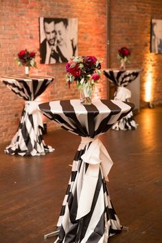 Black and White Cocktail Table Linens | Burgundy Bouquet | Axis Pioneer Square Wedding | Angela and Evan Photography | Seattle Wedding Planner