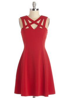 Darling of the Dance-a-thon Dress. The sizzling hue and chic cutouts of this cherry-red dress will keep you dancing 'til sunrise! #red #modcloth