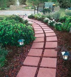 Garden path idea This is what I can do with all those ugly red pavers we have in our yard.