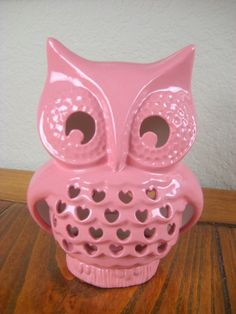 Vintage Ceramic Falling in Love Owl Lantern Pink by modclay, $46.00
