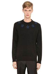 GIVENCHY Star Patches Wool Blend Sweater, Black. #givenchy #cloth #knitwear