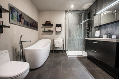 Renovation of a magnificent contemporary-style bathroom with an adjoining rustic-style master bedroom. Contemporary Style Bathrooms, Modern Bathroom, Bathroom Ideas, Armoire Ikea, Washroom, Bathroom Styling, Clawfoot Bathtub, Bathroom Renovations, Rustic Style