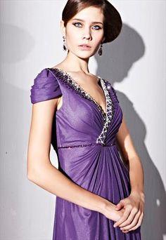 Purple Beads V-neck Mermaid Goddess Homecoming Dress 81230