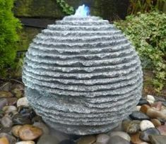 View the Grey Granite Natural Sphere - Garden Water Feature .