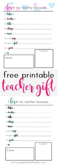 """Give your child's teacher the best possible gift, one from the heart. Let your child's teacher know that she is appreciated with this """"I love my teacher because"""" printable thank you card. Perfect for Christmas, Teacher Appreciation Day, or the end of the school year."""