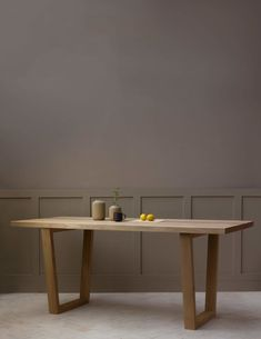 Konk ‖ Börd Table [Wooden Legs] ‖ Minimal Kitchen Table, Solid Oak Meeting Table ‖ Bespoke sizes available! Solid Wood Furniture, Handmade Furniture, Table Furniture, Wooden Dining Tables, Dinning Table Design, Dining Table Legs, Dining Sets, Dining Room, Meeting Table