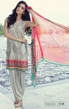 Maria B Lawn Summer 2016 suit MB-10B, is a stunning straight salwar kameez designed with finest quality of Lawn/Chiffon material. Maria B Lawn 2016 10B comes in