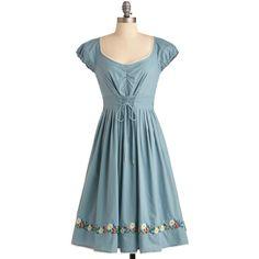 Let's Be Frankfurt Dress ($170) ❤ liked on Polyvore featuring dresses, blue, modcloth, tie dress, blue ruched dress, shirred dress, lining dress and ruched sleeve dress