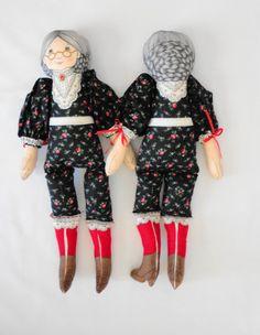 Group O' Grannies Four VIP Fabric Panel Granny by handmaidmarian