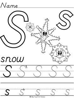 Elegant Alphabet Letter S Snow Du0027Nealian Manuscript Handwriting Practice Worksheet    Preschool Printables