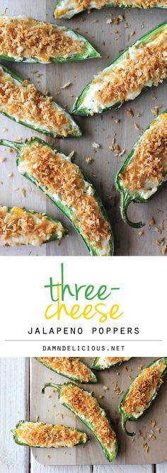Three-Cheese Jalapeno Poppers - Loaded with three different kinds of cheese and the most crisp Panko crumb topping! A must for game day!