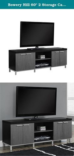 "Bowery Hill 60"" 2 Storage Cabinet TV Console in Black and Gray. Complete the look of your living space with this contemporary two tone TV console. The thick paneled black frame paired with Gray cabinets are accented with sleek silver colored handles and supported by stylish silver legs. Featuring two open storage shelves and two double door cabinets, this TV stand will meet all your media storage needs in style. Features: Finish: black and gray; Includes 2 spacious double door cabinets…"