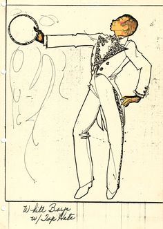"A Pete Menefee costume design drawing of a male dancer in a white tail coat with a tambourine. It was designed for the show Jubilee! at the MGM Grand Hotel and Casino in Las Vegas, June 5, 1980. Image is a part of the UNLV Libraries ""Showgirls"" digital collection."