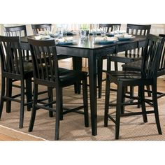 Coaster Furniture Pines Black Counter Height Dining Leg Table With Leaf