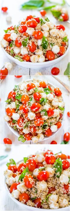 Tomato Mozzarella Salad with Basil and Quinoa – Averie Cooks Tomato, Mozzarella & Basil Quinoa Salad (GF) – Trying to keep meals healthier & lighter? Make this easy, refreshing & satisfying salad! I Love Food, Good Food, Yummy Food, Tasty, Vegetarian Recipes, Cooking Recipes, Healthy Recipes, Quinoa Recipes Easy, Quinoa Salad Recipes