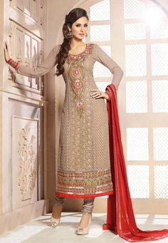 Grey color pure bamberg fabric straight cut salwar suit with grey color santoon fabric bottom & red color chiffon fabric dupatta