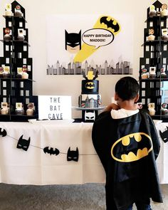 Batman Birthday Party in yellow and black. Modern Batman birthday party backdrop / banner for a Batman candy buffet party table.