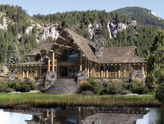 Beautiful Lodge home in Wyoming. I know someone who would love this!