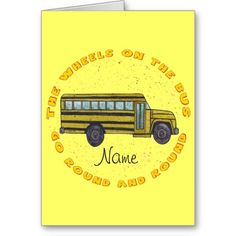 Custom name School Bus Wheels Cards
