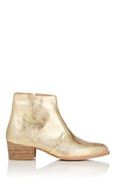 Esquivel Jessie Metallic Leather Ankle Boots In Gold Esquivel, Barneys New York, Metallic Leather, Leather Ankle Boots, Jessie, Block Heels, Footwear, Pairs, Booty