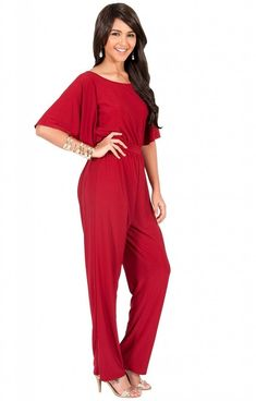 bc84ecef35f Amazon  Koh Koh Plus Size Women Short Sleeve Wide Leg Long with Dressy  Rompers And Jumpsuits Amazon