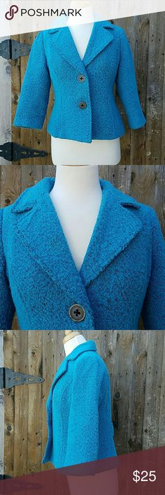 CAbi #186 Boucle Wool Blend Blazer 3/4 Sleeves Blue/Turquoise  Boucle 2 Button Closure 3/4 Sleeves Bust is 38 inches Sleeve Length is 17 inches Length of blazer is 22 inches Wool Blend CAbi Jackets & Coats Blazers