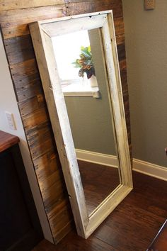 This oversized, full length mirror is handmade in our shop from locally reclaimed wood. Available in a variety of colors; Item pictured is the Mirror Jewellery Cabinet, Wood Pallets, Barn Wood, Mirror Mirror, Mirrors, Home Projects, Sweet Home, Woodworking, Diy Crafts