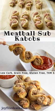 These Meatball Sub Kabobs are such a fun appetizer or dinner. They are a hit with kids and adults. Low carb, grain free, gluten free, THM S.