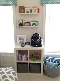 Project Nursery - shelves // throw pillow blanket basket
