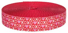 Country Brook Design® 3/4 Inch XOXO on Red Nylon Webbing,...