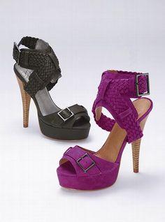 "Colin Stuart Braided Platform Sandal: Braid to please. Imported sueded acrylic polyester/polyurethane. 5"" heel with 1"" platform.    $88"