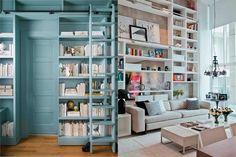 крошечные квартиры, интерье маленькой квартиры, высокие книжные полки