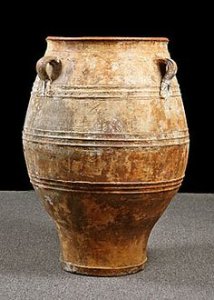 Greek Antique Three-Handle Terracotta Olive Oil Jar