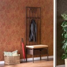 @Overstock - Combine style and function with this brown entry hall tree bench. The high-backed metal frame features a rattan storage basket for keys, gloves, and other items. The tufted microfiber cushion makes this a comfortable seat in which to put on your shoes.http://www.overstock.com/Home-Garden/Ovilla-Hall-Tree-Entry-Bench/5482370/product.html?CID=214117 $151.99
