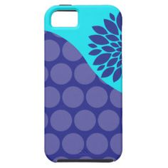 Teal Blue Flower and Purple Polka Dots Pattern iPhone 5 Cases