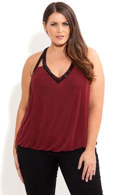 City Chic - BEAD NECK BUBBLE TOP - Women's plus size fashion