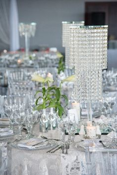 All White & Crystals with touches of greenery #wedding