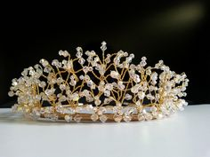 Handmade Swarovski Crystal Gold Bridal Wedding Tiara